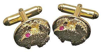 Rubies for eyes on frog cufflinks