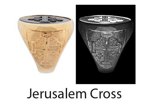 Jerusalem Cross Ring Shoulder design