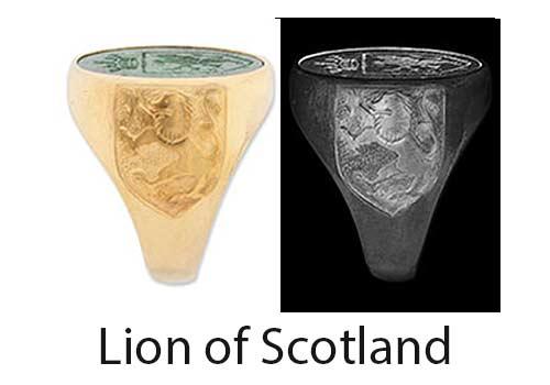 Lion of Scotland Ring Shoulder design