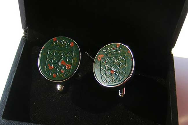 Custom bloodstone cufflinks