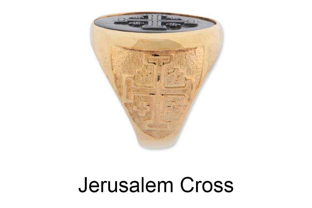 Jerusalem Cross Ring Shoulders