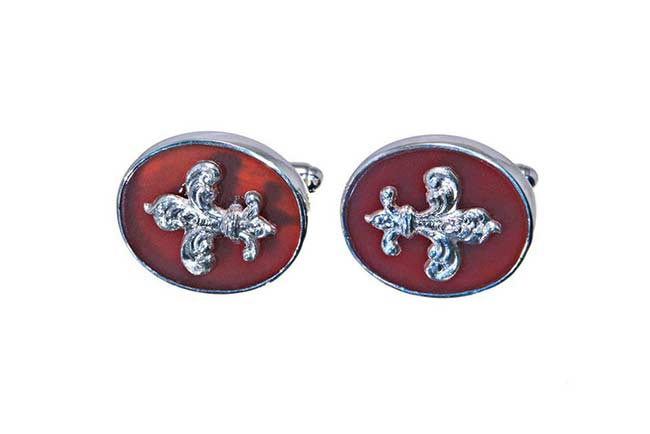Custom red agate cufflinks